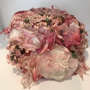 1950s Pill Box Hat Pink Flowers